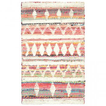 White Multi Wool & Recycled Threads Rug - 90 x 150cm