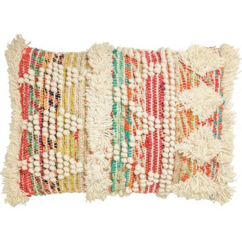 White Multi Wool & Recycled Threads Cushion