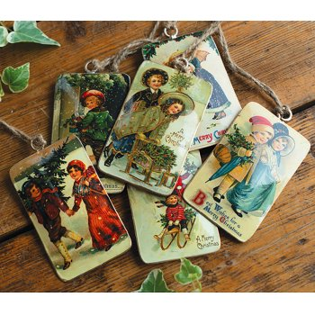 Retro Tin Merry Christmas Decorations - Set of 6