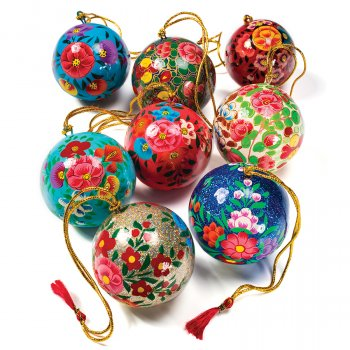 Hand Painted Papier Mache Baubles - Set of 4