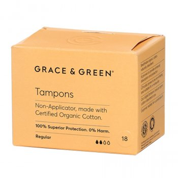 Grace & Green Organic Cotton Non-Applicator Tampons - Regular - Pack of 18