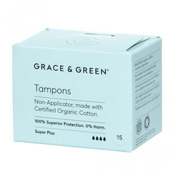 Grace & Green Organic Cotton Non-Applicator Tampons - Super Plus - Pack of 24