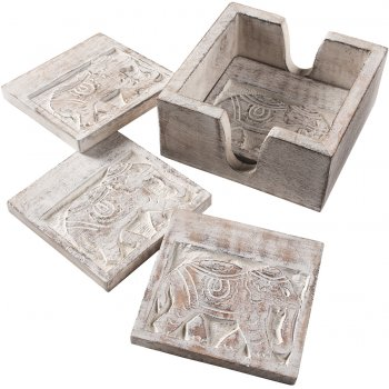 Elephant Carved Set of 4 Coasters in Holder