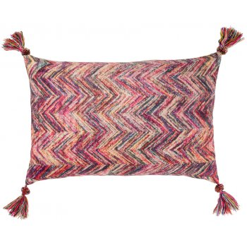 Zig Zag Print Cushion Cover with Tassels - 45 x 60cm