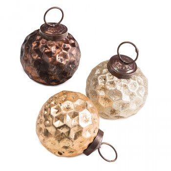 Glass Honeycomb Christmas Decoration - Set of 6