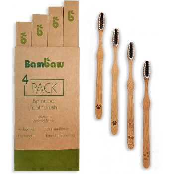 Bambaw Bamboo Medium Toothbrushes - Pack of 4
