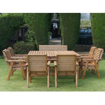 Eight Seater Wooden Garden Patio Set - 1 Bench & 6 Chairs