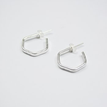 Made Silver Mini Hexagon Hoops