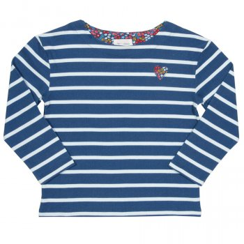 Kite Blue Stripe Breton Heart Top