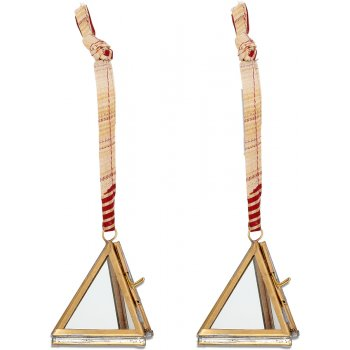 Tiny Kiko Antique Brass Triangular Decorations - Set of 2