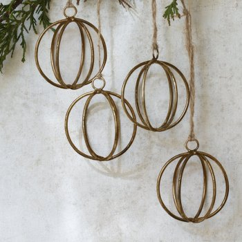 Antique Brass Eshe Wire Baubles - Set of 4
