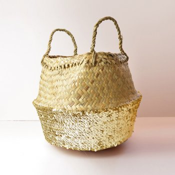 Toulouse Gold Sequin Basket - Small