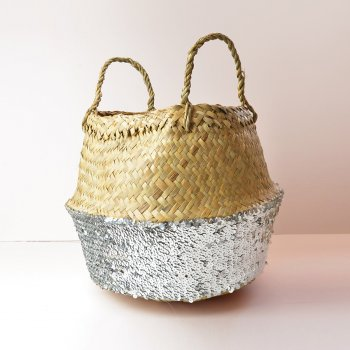 Toulouse Silver Sequin Basket - Small
