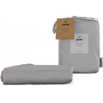 Panda Quiet Grey Fitted Bamboo Sheet - Double