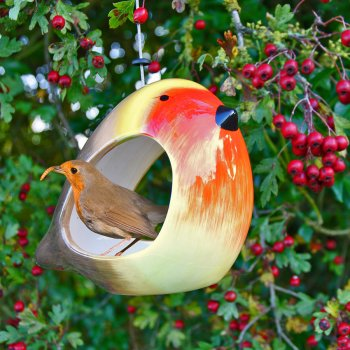 Ceramic Robin Bird Feeder