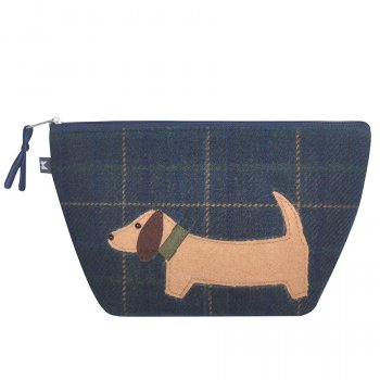 Navy Cord Applique Sausage Dog Make Up Bag