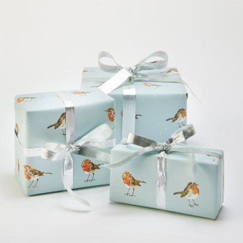 Recycled Wrapping Paper & Tags - Christmas Robins - Pack of 4
