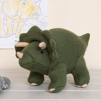 Moss Green Triceratops Knitted Dinosaur Soft Toy