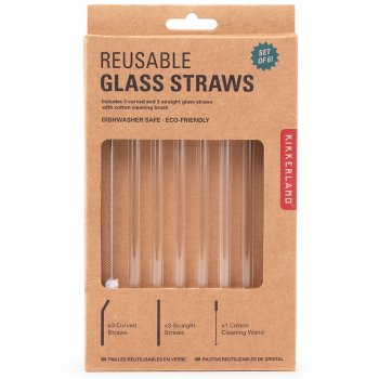 Reusable Clear Glass Straws - Set of 6