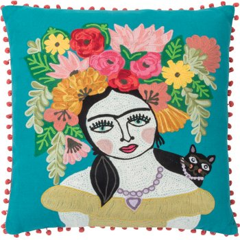 Ian Snow Frida Kahlo Floral Filled Cushion