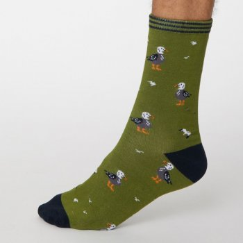 Thought Olive Green Pesca Bamboo Socks - UK7-11