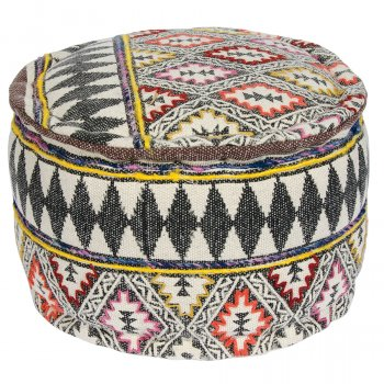 Jalkamal Block Printed Pouffe with Embroidery
