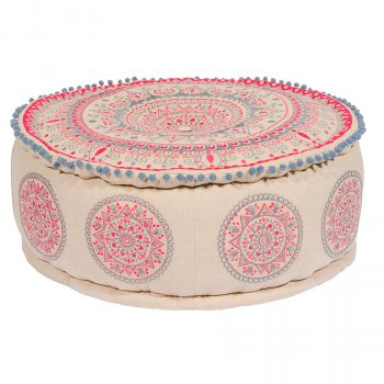 Mandala Design Embroidered Cotton Pouffe