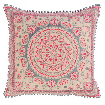 Mandala Large Cushion Cover With Pom Poms