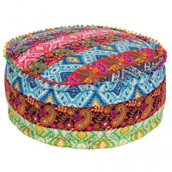 Multi Patch Embroidered Cotton Pouffe