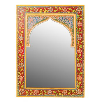 Indian Hand Painted Wooden Wall Mirror - 40 x 55cm