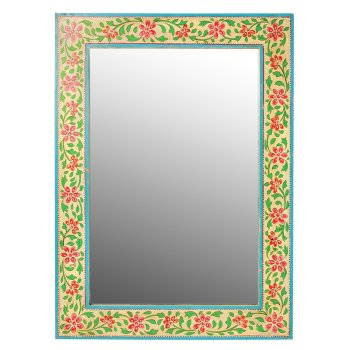 Hand Painted Wooden Wall Mirror - 40 x 55cm
