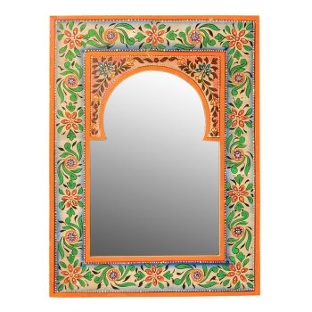 Indian Hand Painted Wooden Wall Mirror - 30 x 40cm