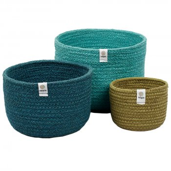 Respiin Tall Jute Basket Set - Ocean