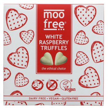 Moo Free Vegan White Chocolate & Raspberry Truffles - 108g