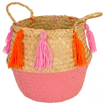 Two Tone Large Seagrass Basket - Natural & Pink