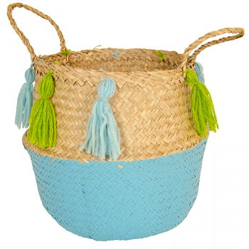 Two Tone Large Seagrass Basket - Natural & Turquoise
