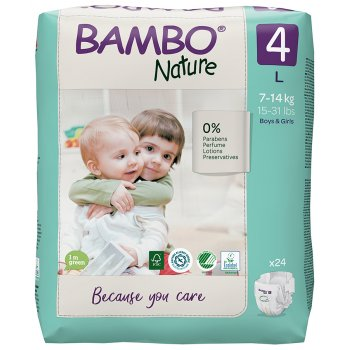 Bambo Nature Disposable Nappies - Maxi - Size 4 - Pack of 24