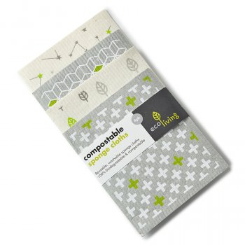 ecoLiving Compostable Sponge Cleaning Cloths - Leaf, Cube, Plus, Stars - Pack of 4