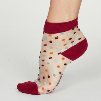 Thought Magenta Cecile Recycled Nylon Spotty Mesh Socks - UK4-7