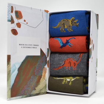 Thought Extinct Dinosaur Bamboo Socks Gift Box - UK7-11