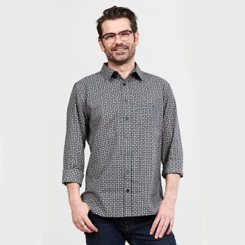 Nomads Midnight Geo Check Long Sleeved Shirt