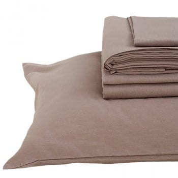 The Flax Sack Organic Linen Full Bedding Set - Champagne Pink - Double