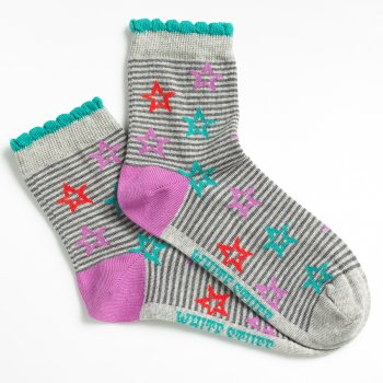 White Stuff Starry Stripes Socks - Grey
