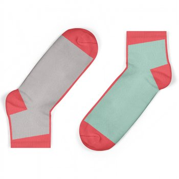 Unisock Kids Grey & Mint Contrast Ankle Socks