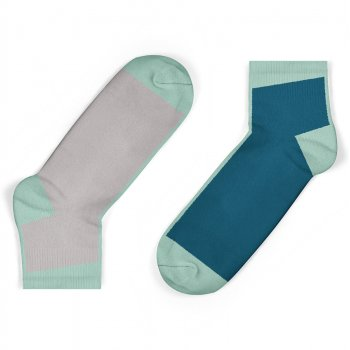 Unisock Kids Grey & Legion Blue Contrast Ankle Socks