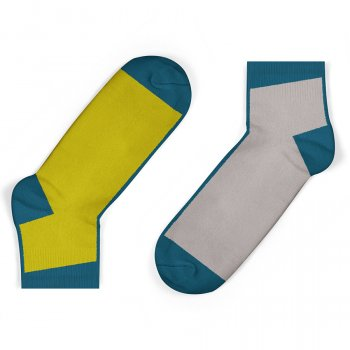 Unisock Kids Grey & Mustard Blue Contrast Ankle Socks