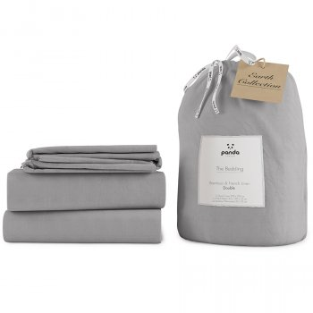 Panda Earth Collection Silver Lining Grey Bedding Set - Double