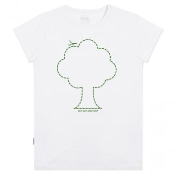 Silverstick Womens Cut Out Tree T-Shirt - White