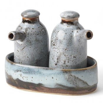 Handmade Ceramic Oil Jug Set - Blue