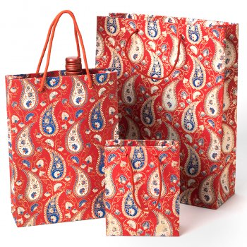 Recycled Cotton Handmade Red Paisley Print Paper Gift Bag - Large